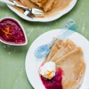 Thumbnail image for Brown Butter Crepes w/ Rhubarb Compote