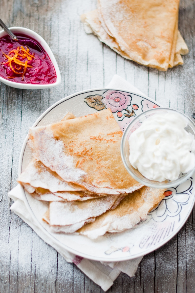 Brown Butter Crepes with Rhubarb Compote | KiranTarun.com