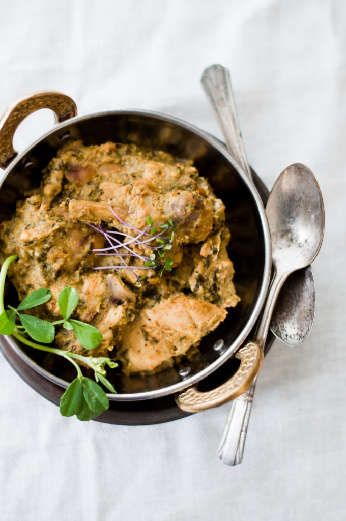 Methi Malai Chicken | Fresh Fenugreek Chicken at KiranTarun.com