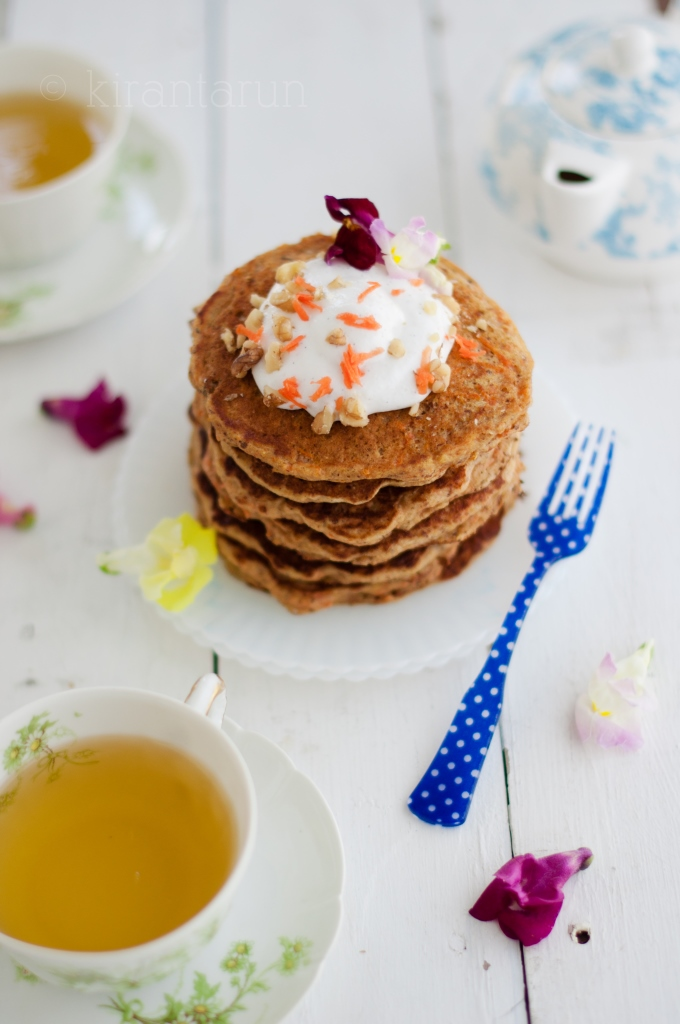 Buttermilk Carrot Pancakes | KiranTarun.com/Food