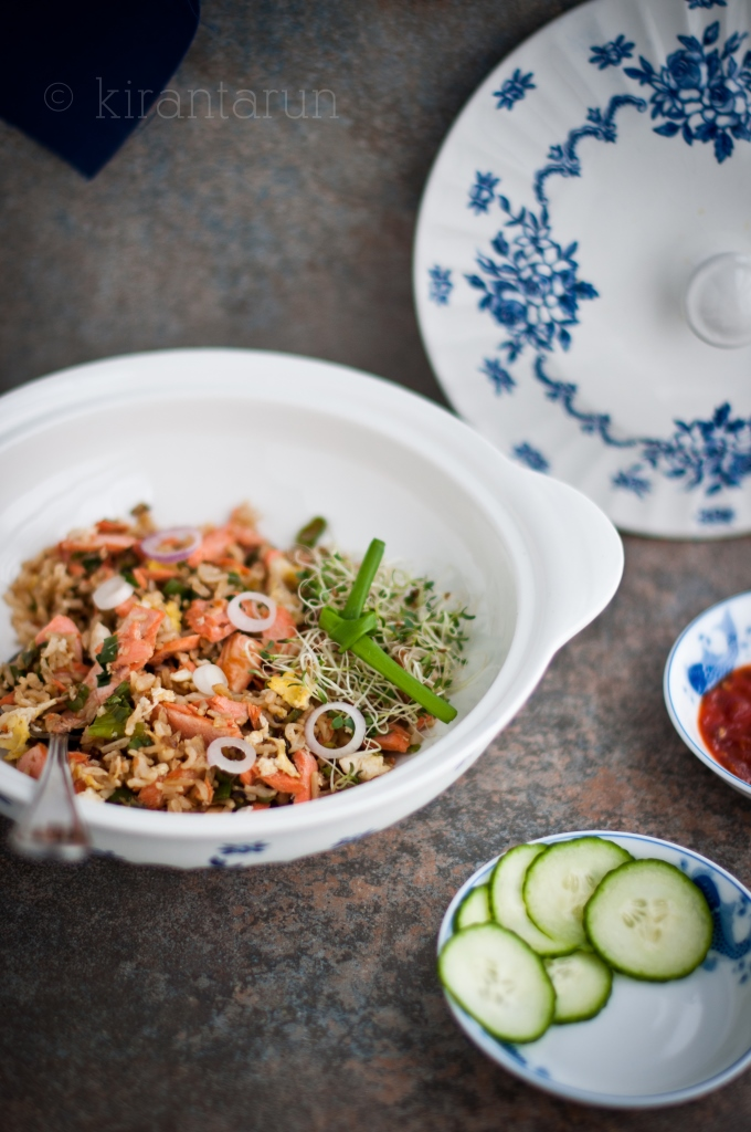Salmon Fried Rice | KiranTarun.com/Food
